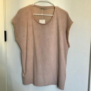 Zara W&B Collection Fringed Sleeve Faux Suede Top